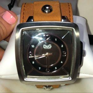 D&G Dolce & Gabana men's women's leather watch tan